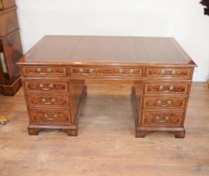 Pedestal Desk Walnut Writing Table