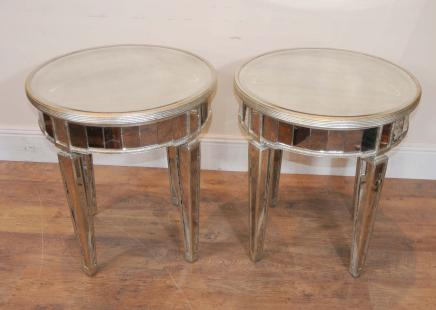 Mirrored Deco Side Tables Cocktail