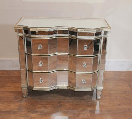 Mirrored Borst Drawers Crinkle Art Deco