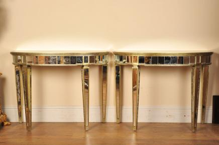 Paar Mirrored Console Tafels Art Deco