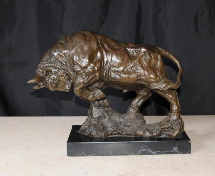 American Bronze Bull Bison Statue Figurine Statue Casting