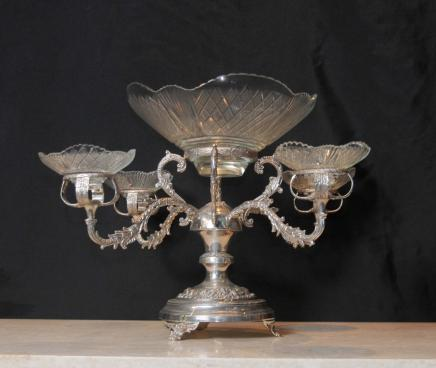 Sheffield Silver Plate Epergne Centrepiece Cut Glass Rococo Bowl