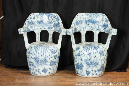 Pair Blue White Chinese Porcelain Chairs Nanking Ceramic Pottery Seats