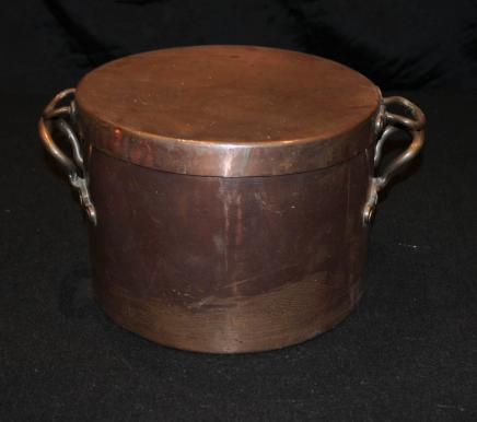 Antique Copper Pot Bowl Lidded Pan English