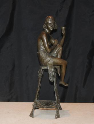 Art Deco Bronze Stool Girl Flapper Signed Je Mic French
