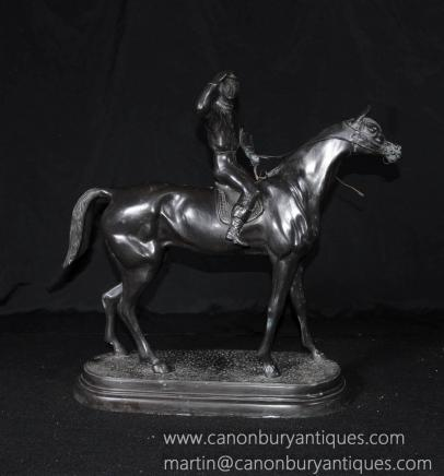 French Bronze Horse Jockey Statue Signed Valton