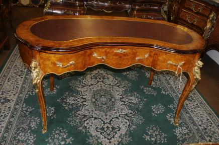 French Empire Kidney Bean Desk Writing Table Bureau Plat