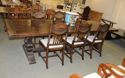 Norfolk Meade Refectory Table Set Barley Twist Kitchen Dining Chairs