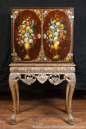 Painted Antique Victorian Mahogany Cabinet Stand Cocktail Cabinet