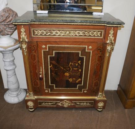 Pair French Empire Credenza Cabinets Chests Marquetry Inlay Interiors