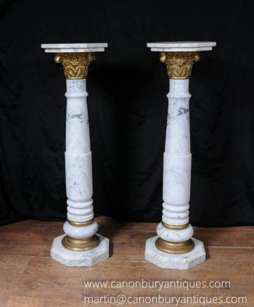 Pair Italian Marble Classic Column Table Pedestal Tables Supports