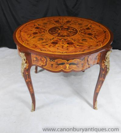 French Rococo Empire Round Centre Table Dining Tables Marquetry Inlay