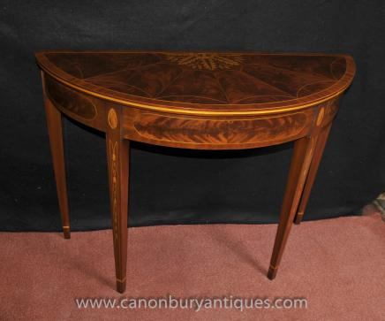 Pair Hepplewhite Flame Mahogany Demi Lune Console Tables Inlay