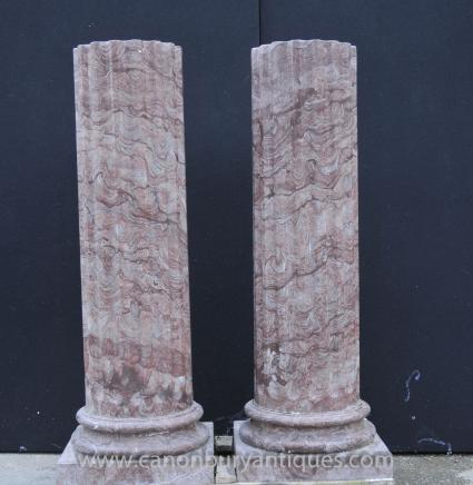 Pair Large Italian Tuscan Marble Column Pedestal Stands