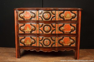 Antique Chinese Red Lacquer Chest Drawers Chinoserie Commode 1880