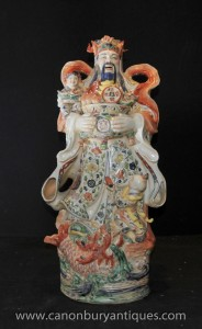 Chinese Porcelain Wise Man Figurine Hand Painted Pottery Statue