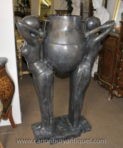 Large Art Deco Bronze Biba Figurine Jardinere Planter Statue