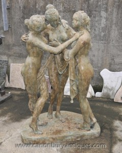 Lifesize Bronze Three Graces Statue Female Nude Greek Figurine