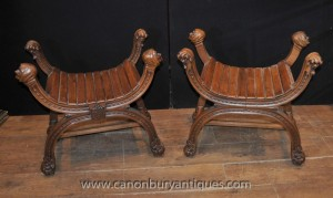 Pair Antique English Oak X Frame Stools Seats Farmhouse