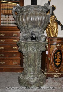 Pair Big Italian Bronze Classical Urns on Architectural Pedestal Columns