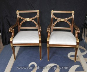Pair French Empire Arm Chairs Fauteils Gilt Finish