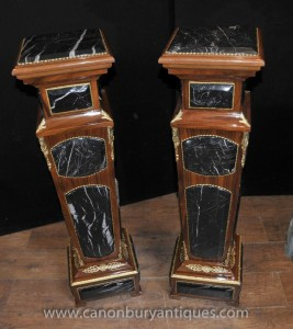 Pair French Empire Marble Pedestal Stands Table