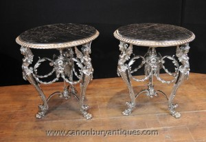 Pair French Silver Plate Side Tables Louis XV Furniture
