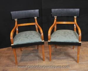 Pair Swedish Biedermeier Arm Chairs Walnut Deco Chair Furniture
