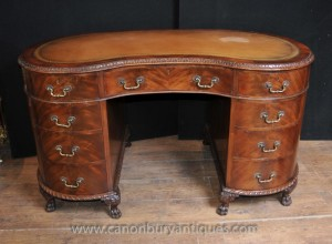 Regency Antique Kidney Desk Writing Table Mahogany Furniture