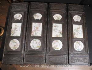 Set 4 Hand Carved Porcelain Chinese Plaques Screens Paintings Oriental Art