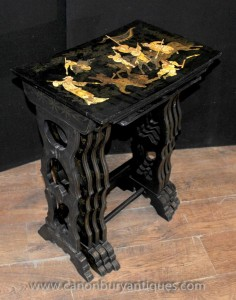 Set French Antique Black Lacquer Nest of Tables Chinoiserie Side Table