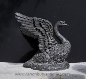 Large Bronze Swan Statue English Garden Royal Bird Swans