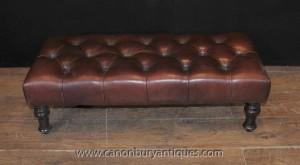 Large Regency Deep Button Leather Stool Seat Ottoman