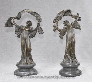 Pair French Art Nouveau Bronze Figurines by Loie Fuller