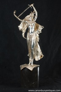 Silver Bronze Female Sword Swallower Exotic Dancer Figurine
