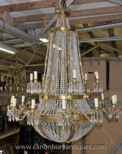 XL French Louis XVI Ormolu Chandelier Light Crystal Glass Lights