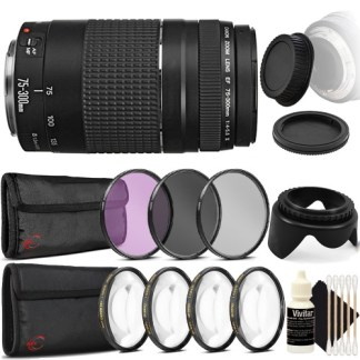 Canon EF 75-300mm f/4-5.6 III USM Telephoto Zoom Lens for Canon EOS Rebel T2i T1i SL1 SL2 with Accessories