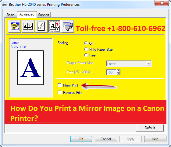Print a Mirror Image on a Canon Printer