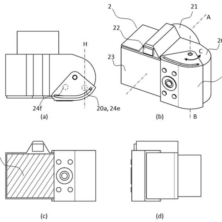 Canon patent for flexible and expandable LCD screen for