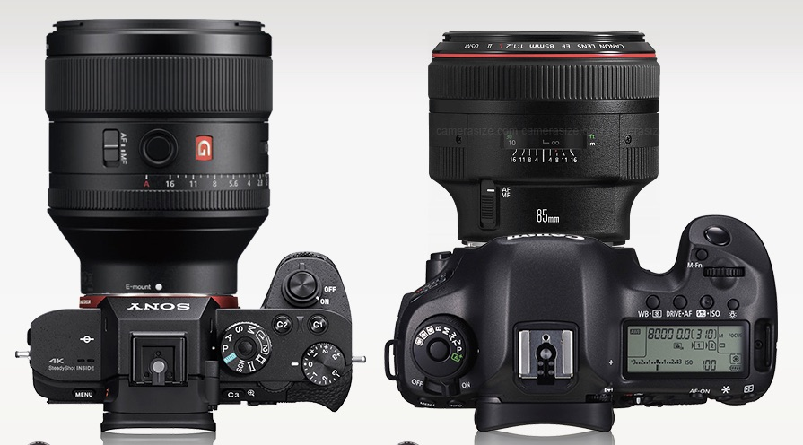Size advantage? Sony A7R vs Canon EOS 5Ds R (right), both with a 85mm lens.
