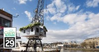 The treehouse in a crane on Bristol Harbourside