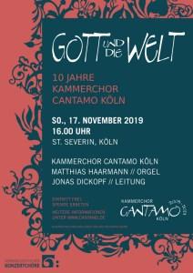 """Plakat """"Gott und die Welt - 10 Jahre Kammerchor Cantamo Köln"""""""