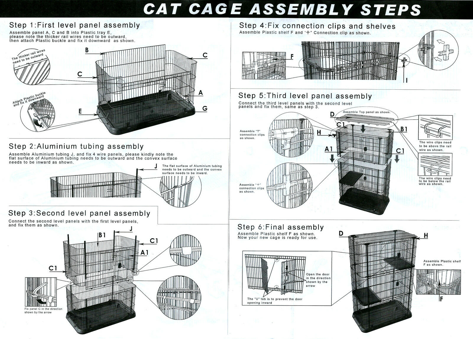 4 Level Storey Boltless Alloy Metal Cat Cage Hamster