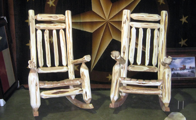 cedar rocking chairs painting vinyl rustic mountain and dining from hill contry log