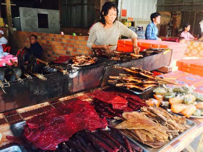 Kulen Mountain, Beef jerky and dried fish on a Local food stall at , Cambodia