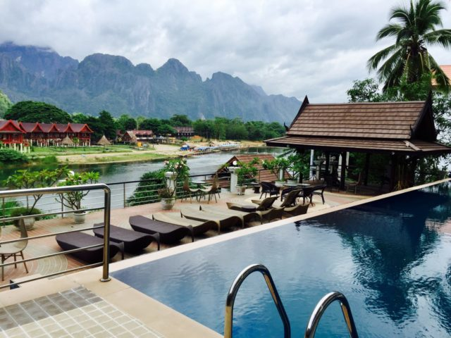 Infinity Pool View over the Nam Song River in the Silver Naga Hotel in Vang Vieng, Laos