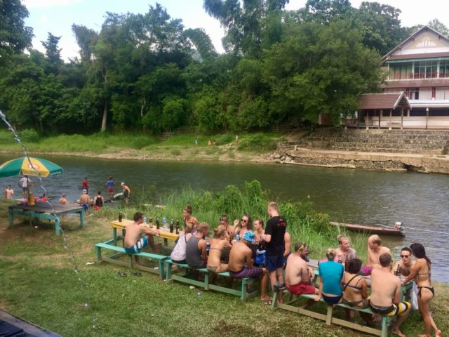Tubing Bar on the Nam Song River in Vang Vieng, Laos