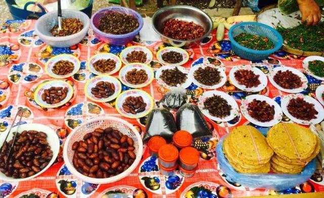 Local delicacies at the morning market in Luang Prabang, Laos