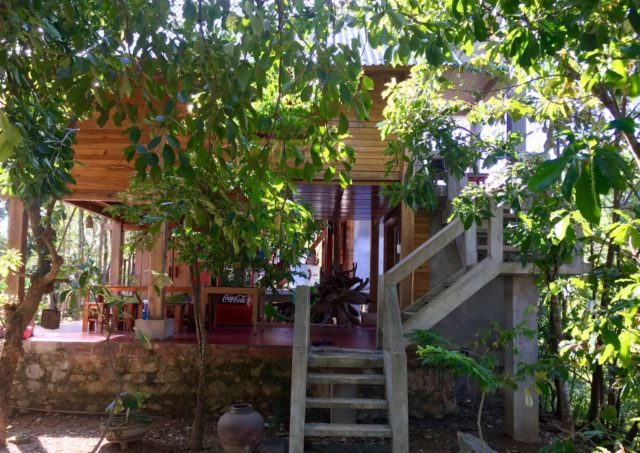 Wooden stilted house at Phong Nha Mountain House farm stay, Vietnam