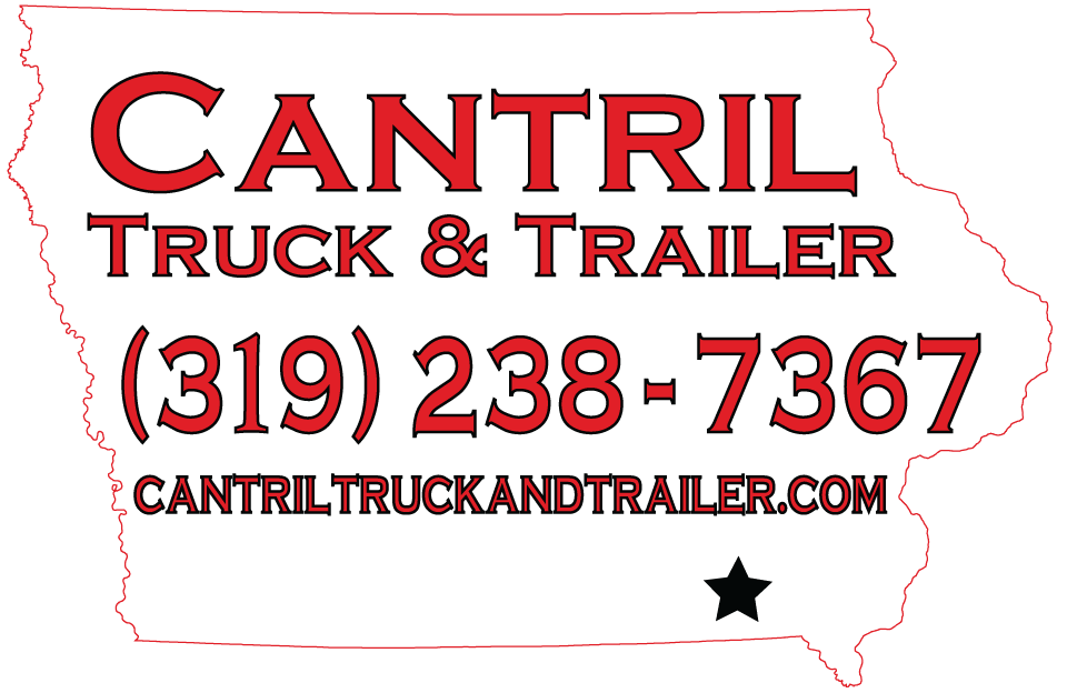 Cantril Truck & Trailer White Map With Red Text Logo